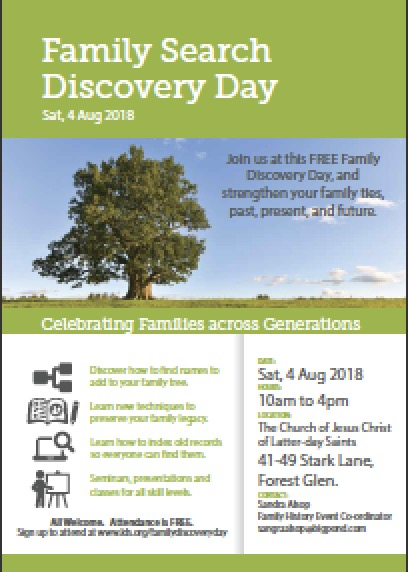 Familysearch Discovery Day infomation