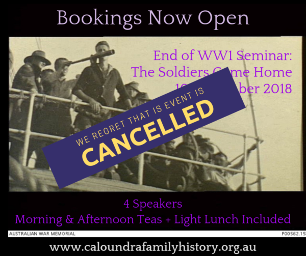 WW1 Seminar Cancelled