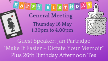 Jan Partridge Speaker and General Meeting 19 May 2019