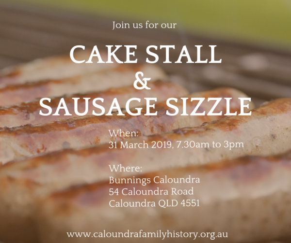 CAKE STALL & SAUSAGE SIZZLE 31 March 2109