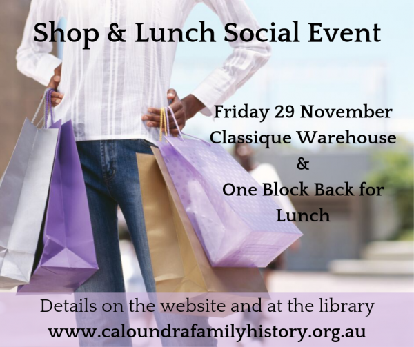 29 November Shopping and Lunch Social Event