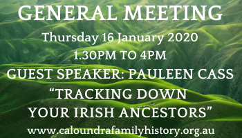 General Meeting details Jan 2020